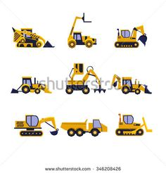 stock-vector-construction-equipment-road-roller-excavator-bulldozer-and-tractor-car-flat-icon-collection-346208426.jpg (450×470)