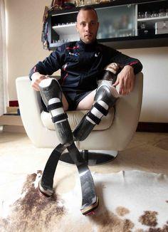 Oscar Pistorius with his blades on