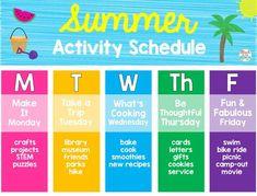 Kids Summer Schedule, Summer Fun For Kids, Toddler Schedule, Summer Plan, Summer Fun List, Nanny Activities, Babysitting Activities, Summer Activities For Kids, Summer Camp Themes
