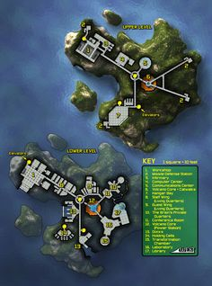 This is a volcanic island base for Mutants and Masterminds villains. (Or particularly reclusive heroes...) Fantasy Castle, Fantasy Map, Pathfinder Maps, Building Map, Sci Fi Rpg, Dungeon Maps, Science Fiction, Star Wars Rpg, Cyberpunk Rpg