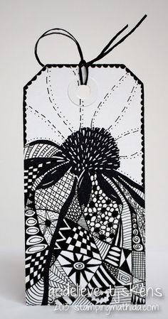 StampingMathilda: Black & White - Stamped Flower & Zentangle around it.