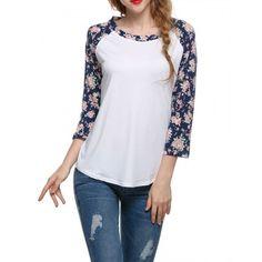 Stylish Women Fashion Round Neck Patchwork Floral Sleeve Spring Autumn T-shirt Tops