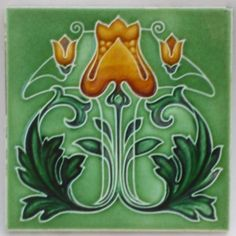 Rare-Antique-Art-Nouveau-Tile-c1905-Excellent-Condition-REF01