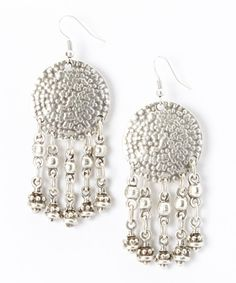 Another great find on #zulily! Silver Hammered Disk Bead Drop Earrings by Turkish Delight #zulilyfinds