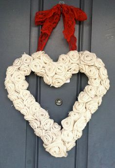 Cream Burlap Rose Heart Wreath by WoulfsCreations on Etsy, $40.00