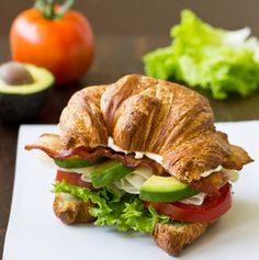 An easy recipe for a Turkey Avocado BLT Croissant Sandwich. Make this delicious Red Robin copycat at home with flaky, buttery croissants, lots of bacon, juicy tomatoes, and as much avocado as you want! Your new favorite lunch. Sandwich Recipes, Lunch Recipes, Cooking Recipes, Healthy Recipes, Croissant Sandwich, Menu Brunch, Copycat Recipes, Food Dishes, Easy Meals