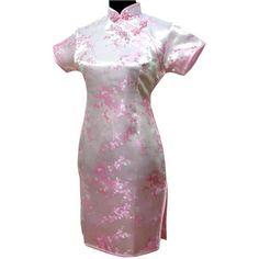 Pink Chinese Women Traditional Dress Short Mini Qipao Cheongsam Top Flower  Plus Size S M L XL XXL XXXL 4XL 5XL 6XL MH-05. Yesterday s price  US  27.00  ... 5197f090d8be