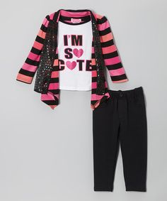 Take a look at this Pink Stripe Layered Top & Charcoal Pants - Infant & Toddler by Young Hearts on #zulily today!