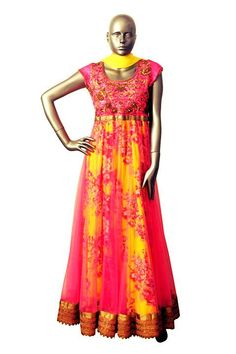 Pink and yellow floral anarkali. #Embroidery #summerlook #indian