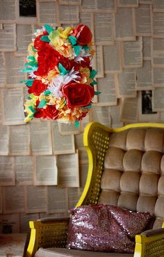 An old lamp shade covered in coffee filter flowers. (tutorial) Ummm...yes, please! I think a few of them would be adorable in Harper's room!