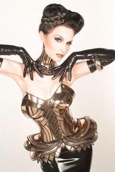 Golden armour corset comic con wonder woman armor sci fi by divamp