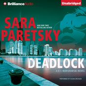 I finished listening to Deadlock: A V.I. Warshawski Mystery, Book 2 (Unabridged) by Sara Paretsky, narrated by Susan Ericksen on my Audible app.  Try Audible and get it free.