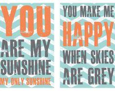 Boy Nursery Print Set, You are my Sunshine, turquoise, grey, orange Nursery Home Decor, Nursery Art, 5x8 art print set by Jennifer McCully