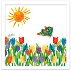 Marmont Hill - Butterfly Kissing Tulips by Eric Carle Painting Print on Canvas - Multi-color ( Tulip Painting, Painting Prints, Art Prints, Garden Painting, Paintings, Metal Tree Wall Art, Canvas Art, Canvas Prints, Eric Carle