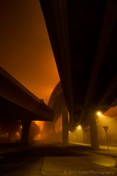 Spokane Street Viaduct-The fog from underneath. Dark Photography, Night Photography, Street Photography, Landscape Photography, Photography Basics, Scenic Photography, Aerial Photography, Landscape Photos, Nocturne