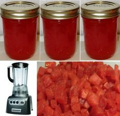 Granny's Watermelon Jelly pureed watermelon, after seeds and rind removed 2 Tbsp Lemon juice for every 3 cups pureed watermelon 1/4 cup water for every 3 cups pureed watermelon 1 cups sugar for eve…
