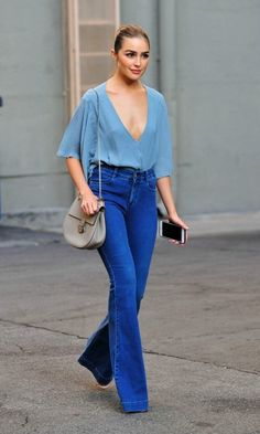 Olivia Culpo was a denim darling in Blue Life by Planet Blue while running errands in Los Angeles. Fashion Line, Fashion 2020, Denim Fashion, Love Fashion, Fashion Outfits, Womens Fashion, Fashion Black, Olivia Culpo, Flare Jeans Outfit