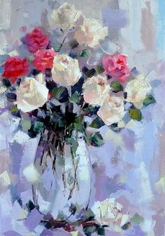 Alexander Gunin — Still Life with Roses, 2014 Flower Painting Canvas, Watercolor Paintings, Flower Of Life, Flower Art, Summer Painting, Guache, Russian Art, Abstract Flowers, Matisse