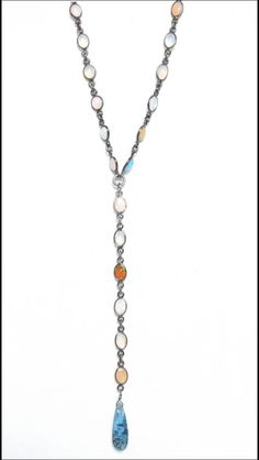 Ethiopian Opal necklace with beautiful kyanite drop
