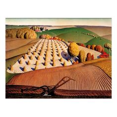 Shop Regionalism landscape: Fall Plowing - Grant Wood Postcard created by FineArtMuseum. Grant Wood Paintings, Artist Grants, Wooded Landscaping, Wood Canvas, Old Art, Elementary Art, Contemporary Paintings, American Artists, Wood Print