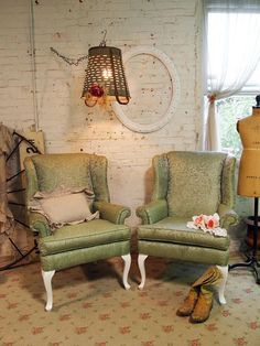 Painted Cottage Chic Shabby Green Wing Chairs by paintedcottages, $225.00