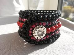 Hand-sewed wrap bracelet in black and red for her