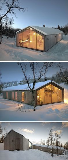 19 Examples Of Modern Scandinavian House Designs | Light wood siding and large floor to ceiling windows keep both the exterior and interior of this holiday home bright and welcoming while also allowing it to blend into the natural surroundings.