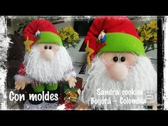 Papá Noel con regalos muñeco de tela con moldes - Marina Creativa Primitive Doll Patterns, Crochet Hats, Santa, Make It Yourself, Dolls, Christmas Ornaments, Holiday Decor, Manta Polar, Youtube