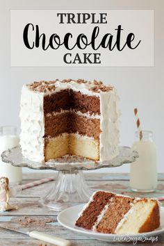 TRIPLE CHOCOLATE CAKE with Marshmallow Buttercream #triplechocolatecake #triplelayerchocolatecake #chocolatecake #bestchocolatecake #chocolatecakerecipe #marshmallowfluffrecipe #marshmallowbuttercream #marshmallowfrosting #amazingchocolatecake