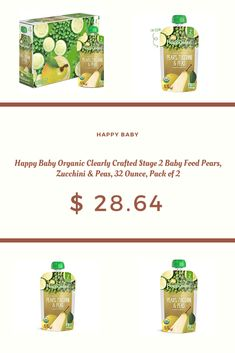 Happy Baby Organic Clearly Crafted Stage 2 Baby Food Pears, Zucchini & Peas, 32 Ounce, Pack of 2 Baby Zucchini Recipe, Baby Food Recipes, Gourmet Recipes, 2nd Baby, Happy Baby, Pears, Organic Baby, Stage, Pouch
