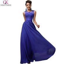 Elegante graça Karin Chiffon sem mangas vestido Formal vermelho roxo azul vestidos 7555(China (Mainland))
