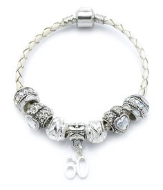 60th Birthday Cream Leather Charm Bracelet for Women with Gift Box * To view further for this article, visit the image link.