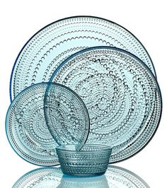 Iittala Dinnerware, Kastehelmi Blue Collection - Casual Dinnerware - Dining & Entertaining - Macy's Bridal and Wedding Registry Finland Casual Dinnerware, Dinnerware Sets, White Dinnerware, Dinner Sets, China Patterns, Scandinavian Design, Glass Art, Entertaining, Dining