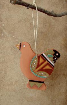 Ceramic Colorful Chicken Ornament Navajo by ArizonaHandmadeArts, $14.50