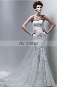 Trumpet/Mermaid Court Train Strapless Lace Fabric Beach Wedding Dresses with Ruched Style 5428157