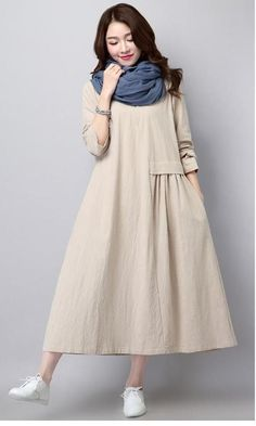 Linen Dress Literary Solid Color Pleated Fashion Long Sleeved Loose Large Size Casual Women's New Spring And Autumn Abaya Fashion, Muslim Fashion, Boho Fashion, Fashion Dresses, Gothic Fashion, Simple Dresses, Casual Dresses, Moda Outfits, Mode Costume