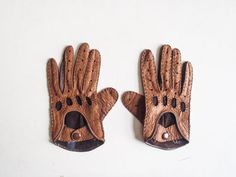 Vintage motorcycle gloves / brown leather