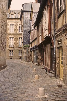 A peaceful Sunday morning in old Rennes,  Brittany, France