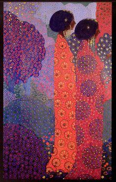 panel from one thousand and one nights by venetian artist vittorio zecchin, very klimt Figure Painting, Painting & Drawing, Art Nouveau, Klimt Art, Italian Art, Figurative Art, Love Art, Female Art, Collage Art