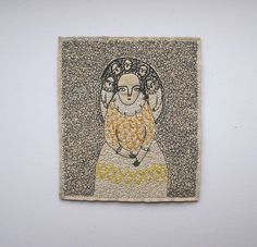 dreamer portrait with yellow-gold | embroidery artwork | By: cathy cullis | Flickr - Photo Sharing!