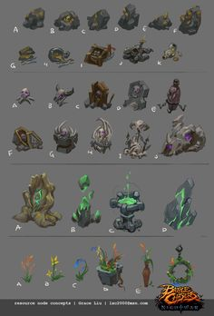 Crafting stations and resource node props I've concepted and built for Battle Chasers: Night War. Beauty Illustration, Book Illustration, Battle Chasers, Game Textures, Game Props, 3d Fantasy, Environment Concept Art, Magic Art, Visual Development