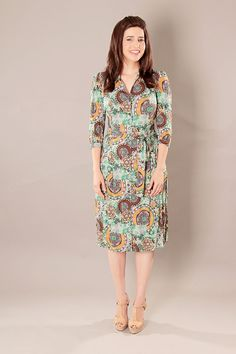 Green modest A - line buttoned dress with retro print and belt by TAMARLANDAU on Etsy