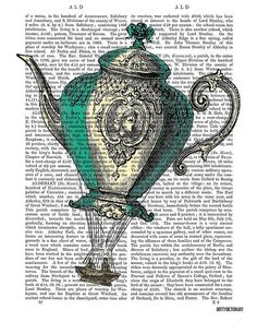 Flying Teapot print No1 Balloon Illustration by DottyDictionary, $15.00