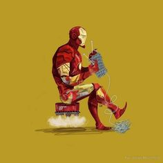 Iron Man's new hobby - knitting.  With STEEL wool, of course.