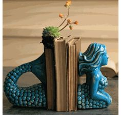 Ceramic Mermaid Bookends - Set of 2