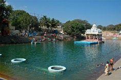 The Srivari Pushkarni at Tirumala, where pilgrims take a bath.
