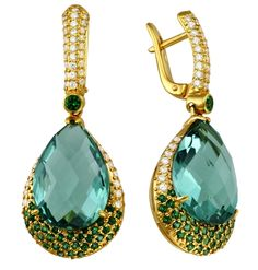 Drukker blue topaz drop earrings