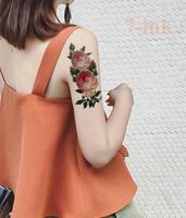 Waterproof  Body Art Temporary Tattoo Stickers pink  camellia  flowers Water Transfer fake tatto Flash Tattoo for girl woman