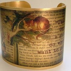 Cheshire Cat Alice In Wonderland English Literature Brass Quote Cuff Bracelet - free shipping