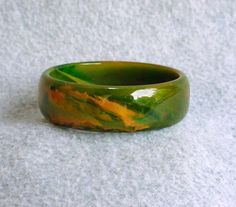 """Bakelite Marble Swirl Bracelet End Of Day Bangle Spinach Green Orange Mustard Yellow Vintage Art Deco Catalin Thick 1"""" Wide Chunky Cuff"""
